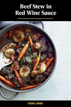 This beef stew recipe incorporates red wine sauce, onions, bay leaves, thyme, pancetta, mushrooms, carrots and parsley to create the ultimate comfort food as a fall recipe. Whether you're looking to eat this stew on a chilly fall night for a fall dinner recipe or pack it up and take it for a leftover lunch the next day, it's a great choice for a fall recipe.#beefstew #beefstewrecipes #fallrecipes #falldinners #crockpotrecipes #slowcookerrecipes