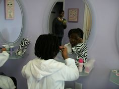Applying make-up - Lilacs & Lily's Spa for Girls Spa-jama Party