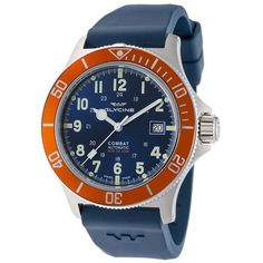 Glycine Men's 3908.18AT-O.D8 Combat Sub Automatic 42mm Blue Dial Orange Bezel  | eBay