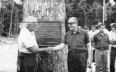 Transamazônica - O presidente Emílio Garrastazu Médici (à dir.) e o ministro dos Transportes, Mário Andreazza, cumprimentam-se, após ser descerrada a placa inaugural, em Jacareacanga (PA), em 1974