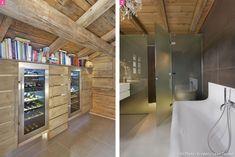 Cave à vin et salle de bain contemporaine.