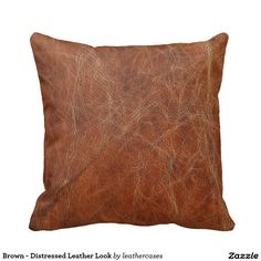 Brown - Distressed Leather Look Throw Pillow