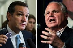 Senator Ted Cruz and Rush Limbaugh - Most consider you an arrogant, short-sighted, self-promoting jackass. Some suspect that you may be genuinely crazy. Forget the Democratic opposition: Fellow Republicans are sending oppo research on you to the media. To Fox News, no less! Nasty People, Rush Limbaugh, Right Wing, Save Her, New Day, A Good Man, Cheerleading, Ted, Politics
