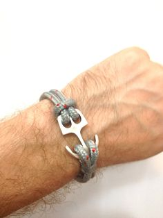 Nautical Sailing Bracelet  with Anchor Claps-Paracord Bracelet-Mens Bracelet-Rope Bracelet-GREY. $17.00, via Etsy.