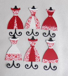 dress form die cuts red floral collection by jardindepapier, $7.00
