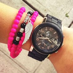 Neon Pink Wing Charm Bracelet/Necklace