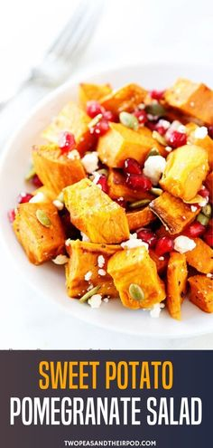 Sweet potato and pomegranate salad with feta cheese, pepitas, and a light pomegranate dressing. This salad is great as a side dish for any fall or holiday meal! Salad Recipes Holidays, Salad Recipes For Dinner, Holiday Recipes, Veggie Side Dishes, Side Dish Recipes, Vegetable Dishes, Vegetarian Recipes, Healthy Recipes, Healthy Food