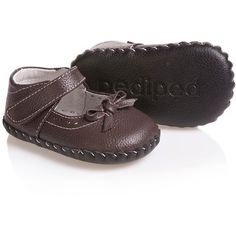 Pediped Originals (0-24mth) Girls Brown Leather 'Isabella' Pre-Walker... ❤ liked on Polyvore