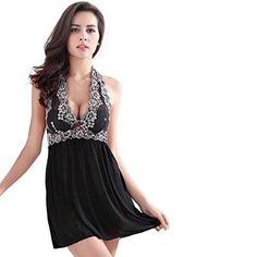 Sleepwear, Toraway Woman Exotic Lace Nightgown Halter Babydoll Dress Sleepwear Lingerie (Medium, Black) - Brought to you by Avarsha.com