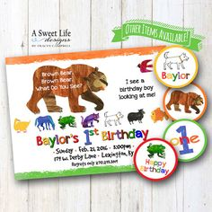 Spark the reader within your little one with this Brown Bear, Brown Bear story inspired theme design! Let this collection by A Sweet Life