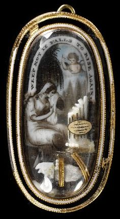 Enamelled gold frame enclosing a painted miniature, embellished with ivory, gold foil and hair, of a woman seated by a column, with an angel pointing to a label inscribed Weep not, it falls to rise again, England, about 1800