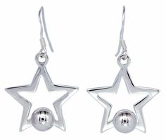 Open Star with Beads Ball Dangle Sterling Silver Earrings for Women [ISE0095] #BKGjewelry #DropDangle