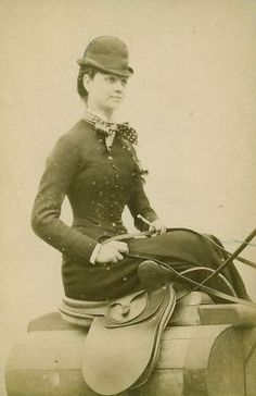 1880. young woman sitting on her side saddle