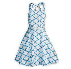 Blue Lattice Girls Halter Dress