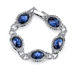 1928 Silver-Tone Blue Oval Faceted Bracelet ($24) ❤ liked on Polyvore featuring jewelry, bracelets, facet jewelry, silvertone bracelet, bracelets & bangles, pandora bracelet and oval bangle