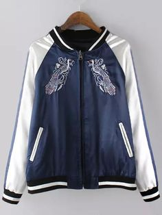 Blue White Zipper Embroidered Loose Jacket  -SheIn