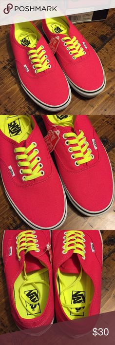 NWT Vans Authentics in Pop Lac Virtual Pink w11 NWT Vans Authentics Pop Lace Virtual Pink. These shoes are bright pink with a neon yellow lace and insole!!! Sizing is women's 11 or men's 9.5 Vans Shoes Sneakers