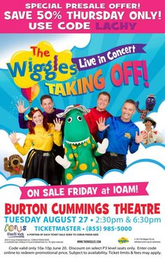 Not too long ago, I announced that the Wiggles were coming to Winnipeg! Now I'm giving away a family pack of 4 tickets to see The Wiggles on Tuesday August 2013 at Wiggles Concert, Wiggles Birthday, Kids News, The Wiggles, Play To Learn, Concert Posters, Activities For Kids, Finding Yourself, Entertaining