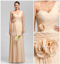 Sheath/Column One Shoulder Floor-length Chiffon Bridesmaid/Wedding Party Dress (1616134) - USD $ 59.99