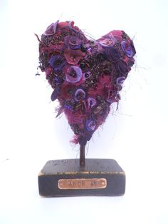 Amor IV soft sculpture, fiber art, fabric collage, eco-friendly up cycled, bead embroidery, purple floral, home decor collectible art