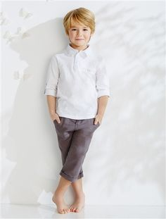 Boy's T-shirt & Cropped Trousers outfit WHITE LIGHT SOLID - vertbaudet enfant
