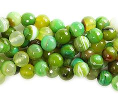 Forest green striped agate faceted round beads (12mm)