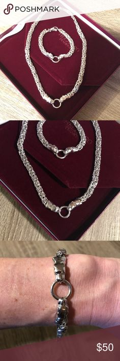 Sterling Silver Necklace and Bracelet Chains Cougar heads clasping together in center of necklace and bracelet chains Jewelry Necklaces