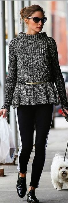 Who made  Olivia Palermo's black pantent shoes, zebra cat sunglasses, and white stripe skinny jeans?
