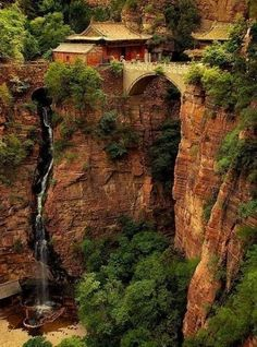 Vacation ideas - Waterfall, Mount Cangyan, Hebei, China photo via vacil Places Around The World, Oh The Places You'll Go, Places To Travel, Places To Visit, Around The Worlds, Beautiful World, Beautiful Places, Amazing Places, Simply Beautiful