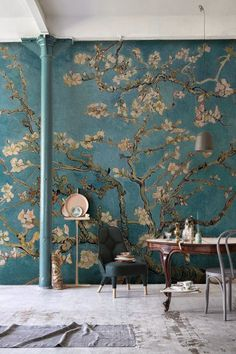 Our Almond Branches by Van Gogh Wallpaper is a depiction of one of the great artist's standout pieces. The blossoming buds painted by Van Gogh represent awakening and hope and we think you'll agree that it will make the most beautiful mural. Our Almond Br Van Gogh Tapete, Van Gogh Wallpaper, Wallpaper Murals, Chinoiserie Wallpaper, Painting Wallpaper, Tree Wallpaper, Wallpaper Ceiling Ideas, Cloakroom Wallpaper, Wallpaper Furniture