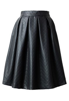 Faux Leather Diamond Pleated Skirt in Black - Skirt - Bottoms - Retro, Indie and Unique Fashion #chicwish