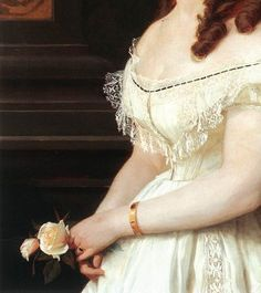 Gyula Benczúr, Young Girl with Roses (detail), 1868