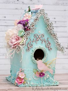 Look what I have today - a Birdhouse! It is my first altered birdhouse ever. Look from the side And some close-ups: . Bird Houses Painted, Decorative Bird Houses, Bird Houses Diy, Shabby Chic Crafts, Shabby Chic Cottage, Shabby Chic Decor, Shabby Chic Birdhouse, Birdhouse Craft, Spring Crafts