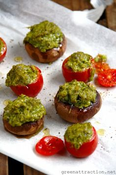 Baked Mushroom and Tomatoes with Pesto stuffing