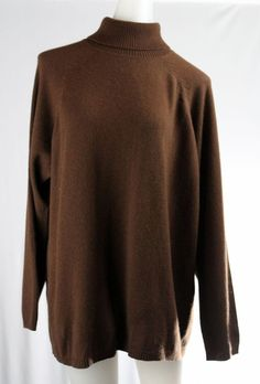 Issues EVELYN GRACE CASHMERE Brown Turtleneck Long Sleeve Sweater #EvelynGrace #TurtleneckMock