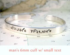 Man's Custom Latitude Longitude Bracelet by ElizabethPriorDesign