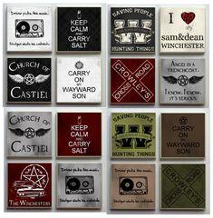 Supernatural SPN Fandom - One (1) Ceramic Tile Refrigerator Memo Magnet Magnets - Cakehole Wayward Son Crowley Keep Calm Carry Salt on Etsy, $2.50