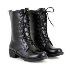 $15.15 Fashion Style Women's Pretty Combat Boots With Black and PU Leather Design