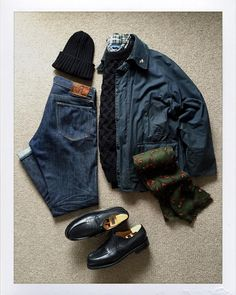 """thedailyobsessionsme: """" Today's Outfit. #Barbour #Bedale Oiled Jacket #Inverallan 1H Wool Aran Sweater #RalphLauren Check BD-Shirt #BeamsPlus Wool Knit Cap #RalphLauren Wool Scarf #RRL Slim Fit..."""