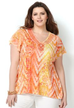 Sublimation Hi Lo Top with Chiffon Inset-Plus Size Chiffon Top-Avenue