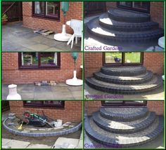 How to build a circular brick steps on your back patio. Patio Steps, Brick Steps, Garden Steps, Concrete Steps, Front Porch Steps, Back Patio, Backyard Patio, Front Entry, Small Patio