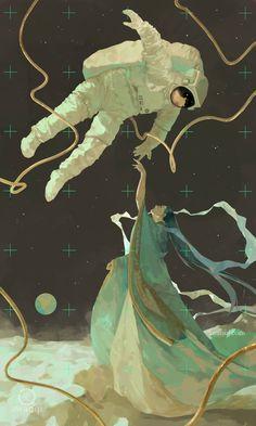 "awanqi on is part of Animal Skull drawings Girls - curiosity kaguyahime princesskaguya fantasyart fantasyillustration illustration astronaut spacesuit moon"" Art And Illustration, Illustrations, Astronaut Illustration, Arte Inspo, Kunst Inspo, Fantasy Kunst, Fantasy Art, Anime Kunst, Anime Art"