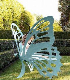 Butterfly Garden Bench - for my dream garden Unique Furniture, Garden Furniture, Outdoor Furniture, Furniture Design, Wicker Furniture, Furniture Ideas, Cheap Furniture, Discount Furniture, Furniture Outlet