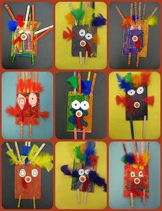 Turkeys with glue lid beaks, popsicle stick feathers, cardboard bodies