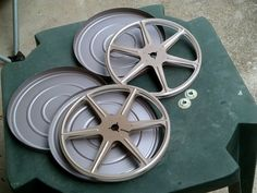 """Lot of 2 Vintage Scherer 7"""" 400 8mm Movie Reels with Tin Cans Cases"""