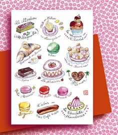 French pastries collection  Card by lucileskitchen on Etsy