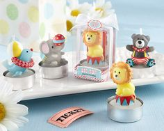 circus-themed baby shower candle favors as low as $7.23.  also great for kids' birthday parties
