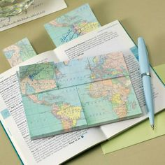 Vintage Map Sticky Notes