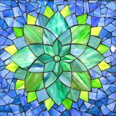 "Aqua Dahlia, stained glass mosaic, 11"" x 11"" (12"" x12"" framed), 2014 by Kasia Polkowska  Visit Kasia Mosaics on Facebook: https://www.facebook.com/KasiaMosaics"