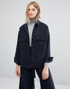 Pin stripes minimal co-ord boyfriend jacket